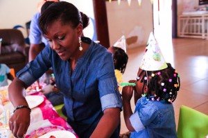 Rukh-Shana serves Twinkle toes cake on her  third birthday at a babies home